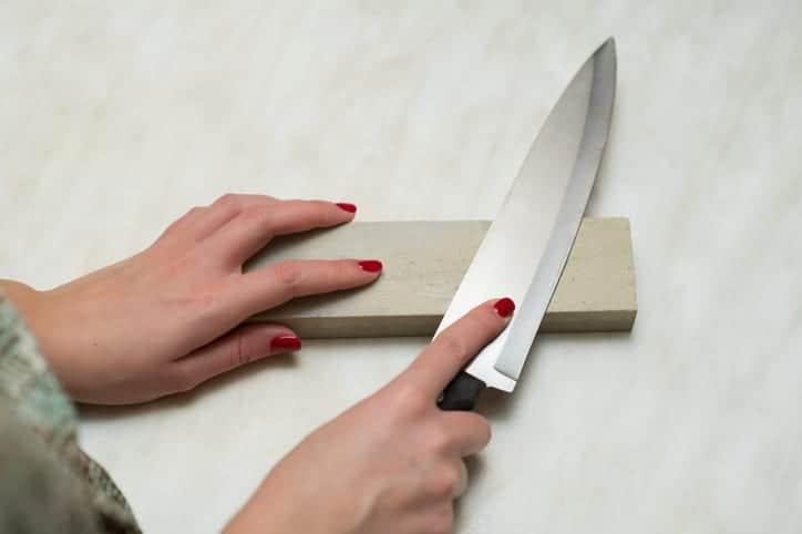Knife sharpened on a whetstone