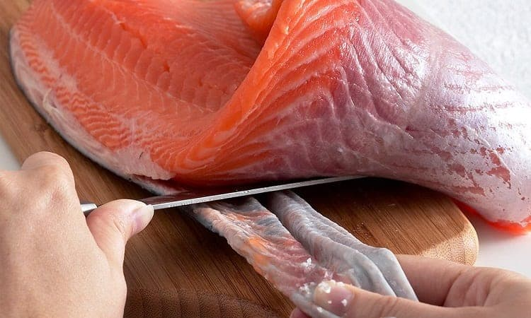 skin removing from fillet