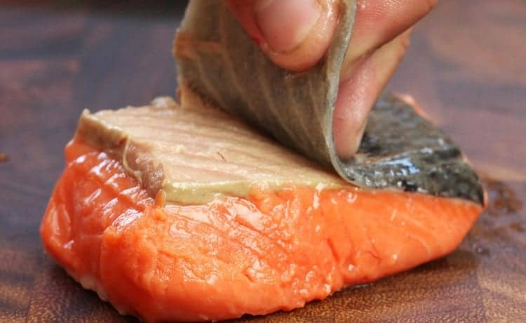 salmon cooked with skin