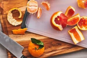 wodden and plastic cutting board