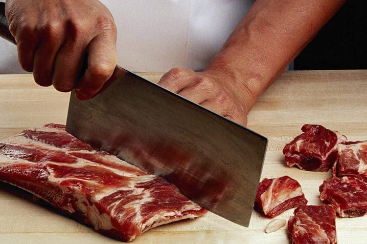 cutting method with cleaver
